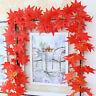 2.4m Red Autumn Leaves Garland Maple Leaf Vine Fake Foliage Christmas Home Decor