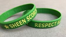Rare Sheen Scorchers Cricket Silicone Wristbands (Two). Green & Yellow. Unworn