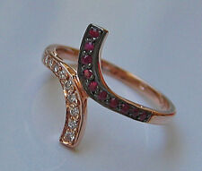 Princessღ♥ Diamant Ring aus 585 Gold Ring mit Brillant Rubin Brillanten Diamond