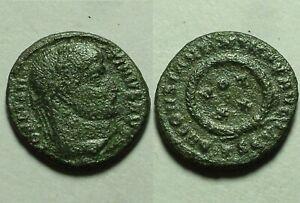 Constantine/Rare genuine ancient Roman coin Laurel wreath Stars 320 Thessalonica