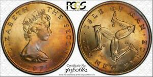 1971 ISLE OF MAN TEN NEW PENCE BU PCGS MS64 COLOR TONED ONLY 6 GRADED HIGHER