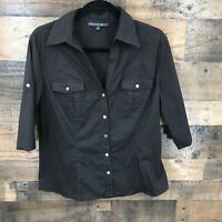 Lafayette 148 Women's Black Tab Sleeve Button Up Fitted V-neck Top Size 10