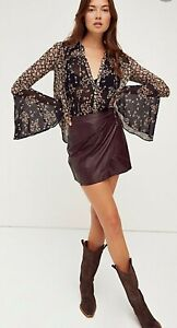 Free People Merlot Fake Out Faux Leather Mini Skirt BNWT Size Xs