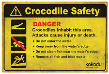 CROCODILE Safety Danger Tin Sign 20 x 30 cm CROCODILE Danger Warning Sign