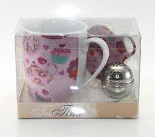 Coffret à thé avec 1 tasse en porcelaine + 1 boule à thé et son assiette