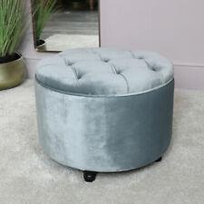 Grey Velvet Footstool vintage button luxury seating dressing table living room