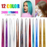 """48"""" 12 Packs HAIR Tinsel Extensions Glitter Colored Extension 2400 Strands"""