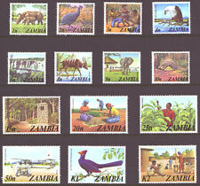 ZAMBIA - 1975 ISSUE - ANIMALS / AFRICAN LIFE - ( 14 ) MINT HINGED - REFER SCANS