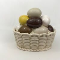 Armbee Vintage Ceramic Easter Egg Basket Lid Covered Candy Dish Japan Eggs Nest