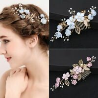Vintage Wedding Bridal Pearl Flower Crystal Hair Pins Side Bobby Pin Clips Comb