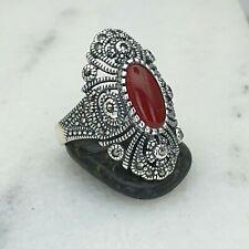 925 Libra esterlina Plata Womens Anillo Rojo Agata And Marcasite Piedra precios