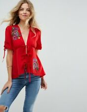 Asos Blouse UK 10 Red Embroidered Tie Front Short Sleeves Lightweight Floral New