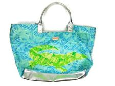 Lilly Pulitzer Large Tote Shopper Bag Alligator Blue Silver Trim Beach Bag $98
