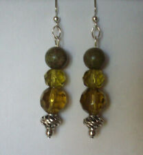 NEW  BUY 2 GET 3RD FREE, OLIVE GREEN FACETED GLASS & UNAKITE PIERCED EARRINGS