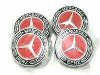4x Mercedes Benz Alloy Wheel Centre Caps 75mm Badges RED Hub Emblem - Fits All