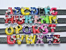 "26 Alloy Rhinestone Enamel Alphabet Letter ""A-Z""Slide Charm Fit 8mm Wristbands"