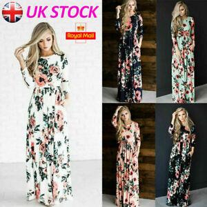 Womens Summer Boho Floral Long Dress 3/4 Sleeve Holiday Party Beach Maxi Dress