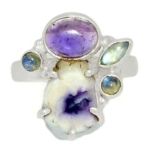 Violet Flame Opal Slice, Mexico & Amethyst 925 Silver Ring s.9 BR84987