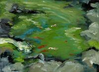 ORIGINAL OIL PAINTING ART KOI POND FISH WATERFALL SERENE CALM  USA BY SUE FURROW