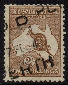 Australia - 1st wmk 2/- brown kangaroo with overinking flaws - Used