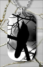 BIRD CROW ON TREE #1 DOG TAG NECKLACE PENDANT FREE CHAIN -v3r4