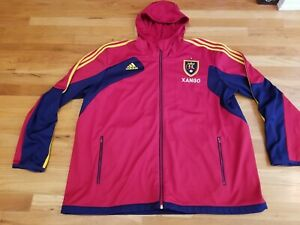 Xango Adidas Mens Hooded Jacket Red Full Zip Up Pockets Real Salt Lake XXL 2XL