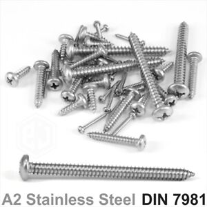 No 2 4 6 7 8 10 12 14 Gauge Pan Self Tapping Tapper Screws A2 STAINLESS STEEL