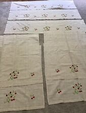 Embroidered cherry curtains with 4 panels and 3 valences