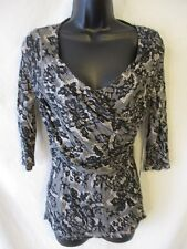 JLO Rayon Casual Black Geometric Size PS 3/4 Sleeve  Knit Top SR $40 NEW