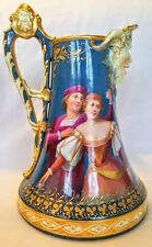 THE BEST HAND PAINTED PITCHER WITH DANCE SCENE, MUSICIANS, SATYR HEAD SPOUT 1890