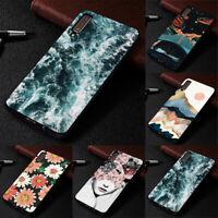 For Samsung A9 A8 A7 A6 2018 Slim Soft Rubber Matte TPU Pattern Phone Case Cover