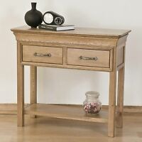 Toulon solid oak furniture two drawer console hall table
