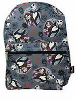 "Disney Nightmare Before Christmas Jack & Sally Skellington Allover 16"" Backpack"