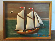 Hand Carved, Wooden, 2 Masted Sailboat Plaque