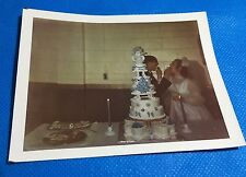 Vintage PHOTO 3 Tier Blue Wedding Cake With Heart Shaped Base Cakes Bride Groom