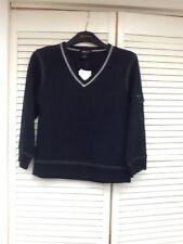 Black LS Pullover, V-Neck, white stitching detail, Large, Willi Smith, NWT