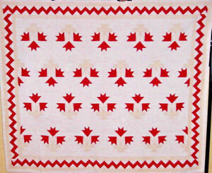 ZIG ZAG ANTIQUE  CAROLINA LILY APPLIQUE QUILT  HAND PIECED HAND QUILTED