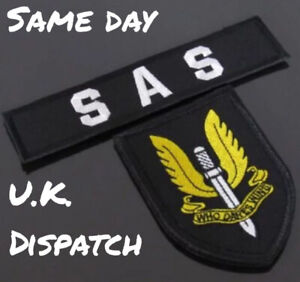 Embroidered Airsoft Patch Hook And Loop Black SAS Special Air Service Who Dares
