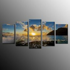 FRAMED Landscape Oil Painting Print On Canvas Sun Rising Wall Art Picture 5pcs