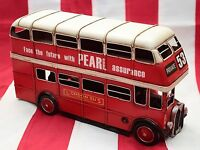 lastRARE red LONDON DOUBLE DECK BUS tin tinplate handmade metal model replica