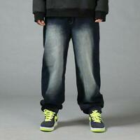 Mens HipHop Jeans Denim Baggy Pants Stonewashed Loose Fit Streetwear Trousers sz