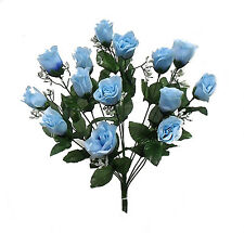 14 Long Stem Roses ~ LIGHT BLUE ~ Silk Wedding Flowers Centerpieces DIY Bouquets