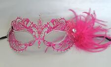 Pink & Silver Metal Venetian Masquerade Party Mask With Feathers Ribbon Tie On