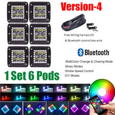 "6x 3"" 24W LED Work Light Spot Pods RGB Halo Chasing Kit Color Change Bluetooth"