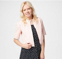 Isaac Mizrahi Live! Elbow-Sleeve Faux Leather Cropped Jacket Rosewater, 4