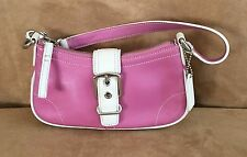 Coach Hampton leather demi buckle bag pink ivory 7542 baguette tote