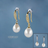 Sterling Silver CZ Real Freshwater Pearl Dangle French Wire Hook Earrings