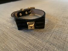 Juicy Couture Leather Bow Pyramid Stud Bracelet Black Gold