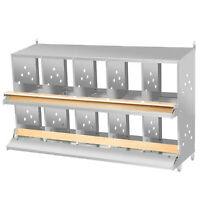 VEVOR Poultry Roll Away Nest Box Chicken Laying Nest 10-Hole Egg Collection Tray