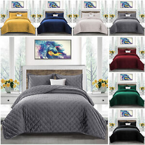 3 Piece Velvet Quilted Bedspread Luxury Bed Throw Comforter Set with Pillowcases